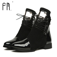 Women Boots Genuine Leather Flat Martin Ankle Boots Womens Motorcycle Boots Autumn Shoes Women Winter Patent