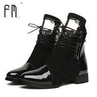 النساء أحذية جلد طبيعي شقة مارتن أحذية الكاحل الأحذية النسائية دراجة نارية الخريف المرأة شتاء براءات بوتاس 35-43