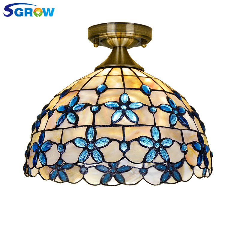 SGROW European Styl Shell Ceiling Light for Bedroom Living Room Dinning Room Kitchen Light Fixture with E27 Bulb Ceiling Lampara