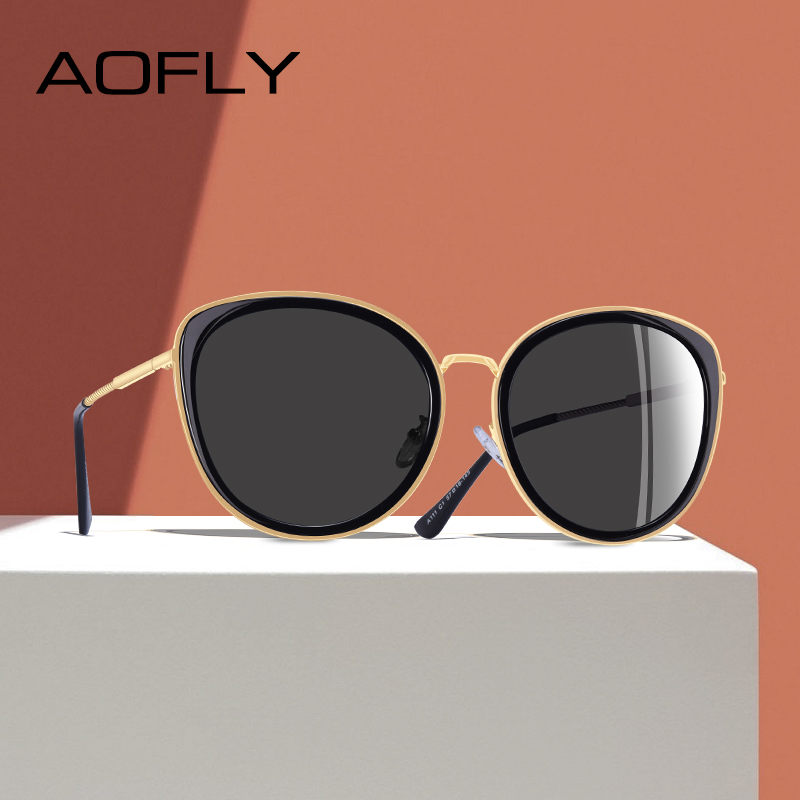 AOFLY BRAND DESIGN New 2019 Cat Eye Sunglasses Women Gradient Lens Polarized Sunglasses Female Metal Temple Goggles UV400 A111Womens Sunglasses   -