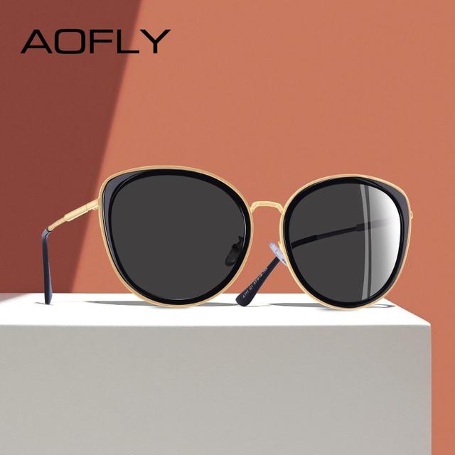 Aoflyブランドデザイン新2020キャットアイサングラス女性グラデーションレンズ偏光サングラスの女性金属寺ゴーグルUV400 A111