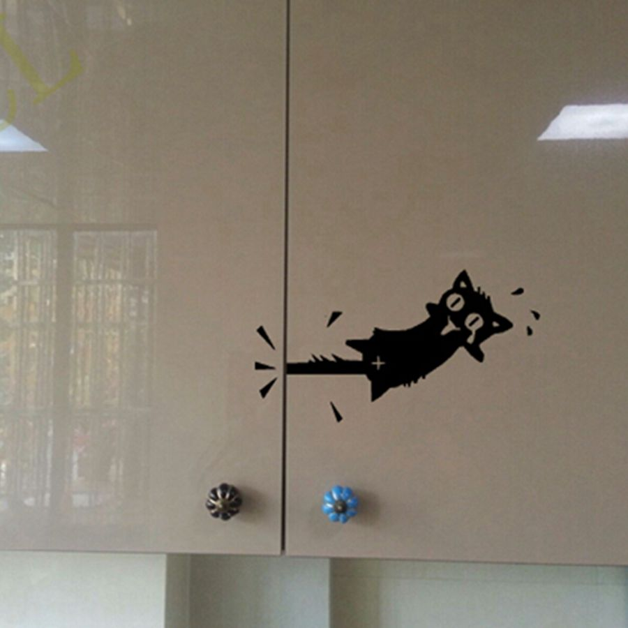 Cat Wall Sticker Cartoon Cat Pattern Kitchen Cabinet