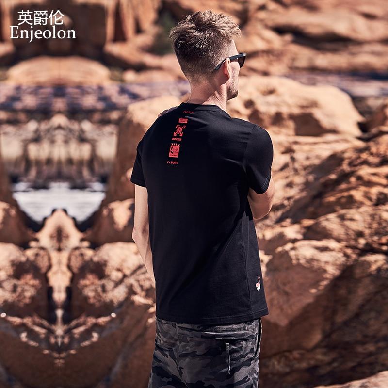 Enjeolon New T Shirt Men Summer Fashion O Neck T Shirt Slim Men T-shirt Casual Fashion Printing T-shirt Tops Tees 3XL T8148