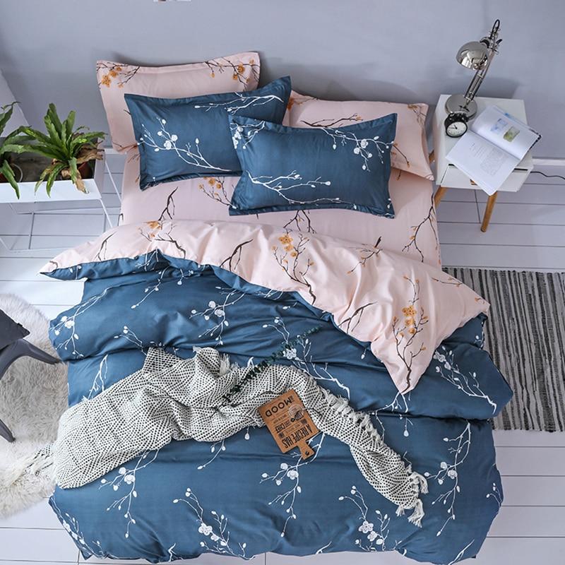 3PCS/4PCS Microfiber Duvet Cover Set Peach blossom Bedding Set with Zipper twin full queen King sizes bedsheet set bed covers