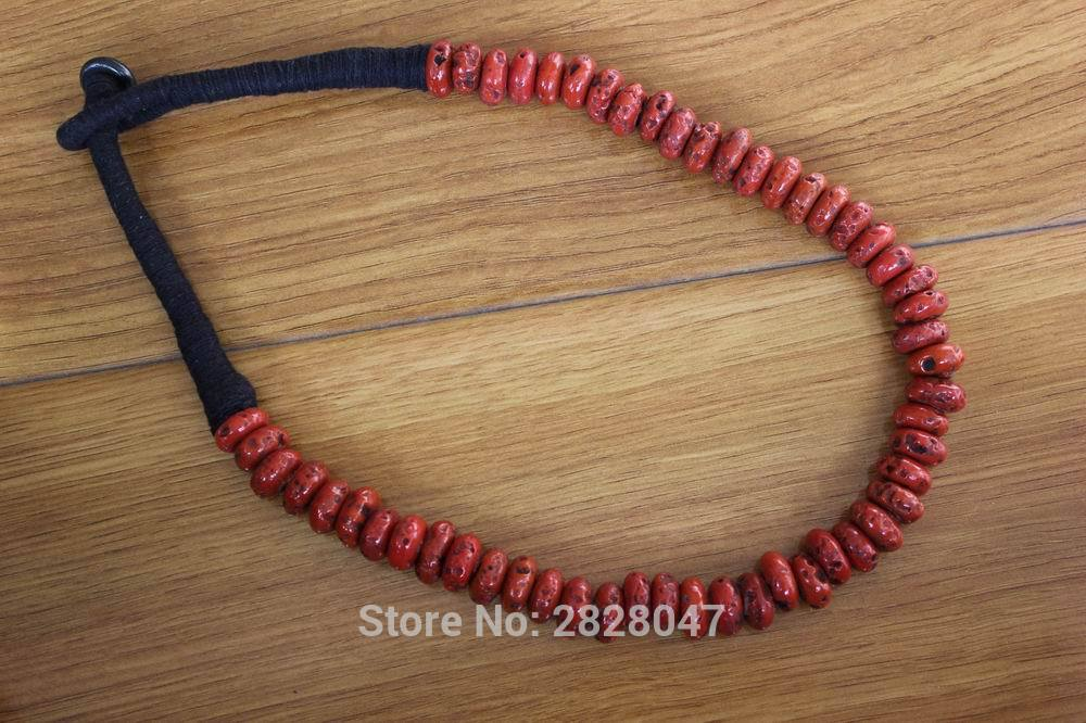 NK185 Vintage Tibetan Jewelry Red Coral Beads Women Necklace Handmade Nepal Antiqued Coral Beaded Necklace