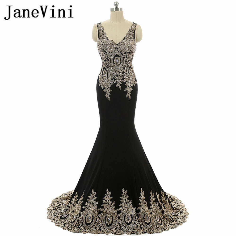 JaneVini Black Mermaid Long   Bridesmaid     Dresses   Satin Gold Lace Appliques Beaded V-Neck Floor Length Formal Maid of Honor Gowns