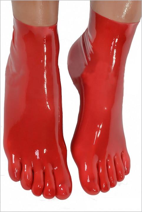 Nemokamas pristatymas! 2016 m. Naujos didmeninės ir mažmeninės latekso fetišo kojinės, trumpos kojinės su 5 pirštais 4 spalvų karšto pardavimo