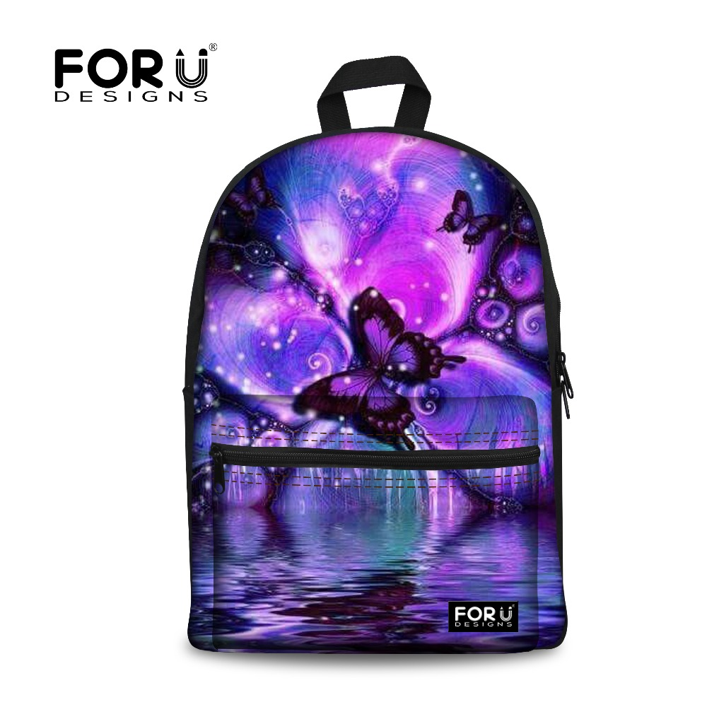 FORUDESIGNS New Backpack Women for School Bags Butterfly Printing Backpacks for Teenage Girls Canvas Bagpack Mochila Feminina canvas printing backpack women school bags for teenagers girls backpacks ladies bolsas mochila feminina black color