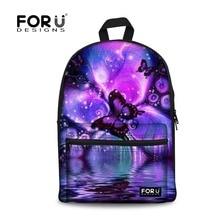 Forudesigns/новый рюкзак для женщин школьные сумки с принтом бабочки рюкзаки для девочек-подростков Холст Рюкзак Mochila Feminina