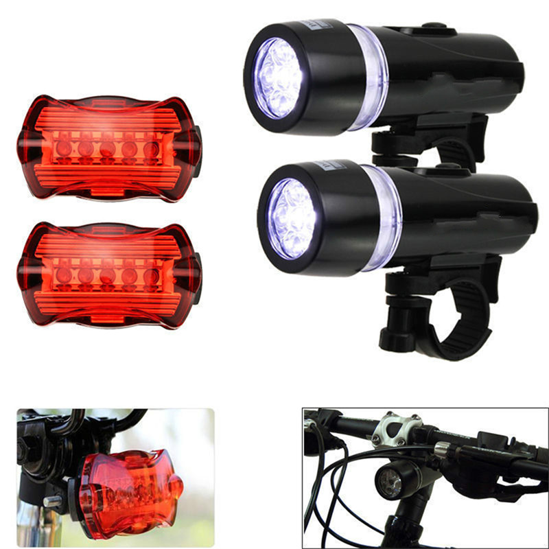 Waterproof 5 LED Lamp Bike Bicycle Front Head Light+Tail Rear Safety Flashlight