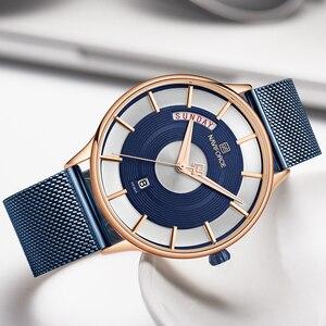 Image 4 - NAVIFORCE montre à Quartz pour hommes, montre bracelet, étanche, maille en acier inoxydable, sport, horloge, Date