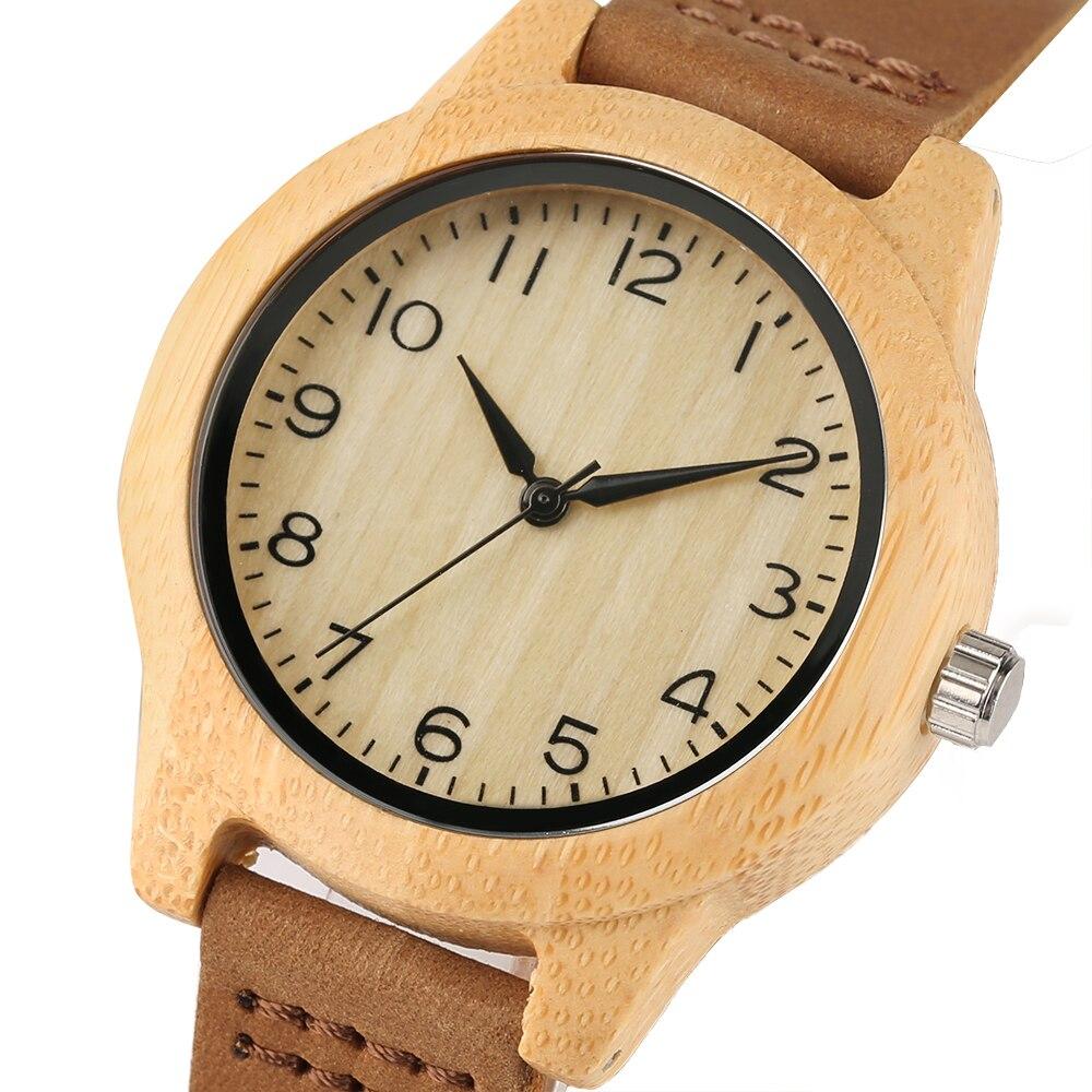 YISUYA Novel Brown Genuine Leather Band Wooden Quartz Women Watch Simple Casual Bamboo Handmade Women Wrist Watch Best Clock