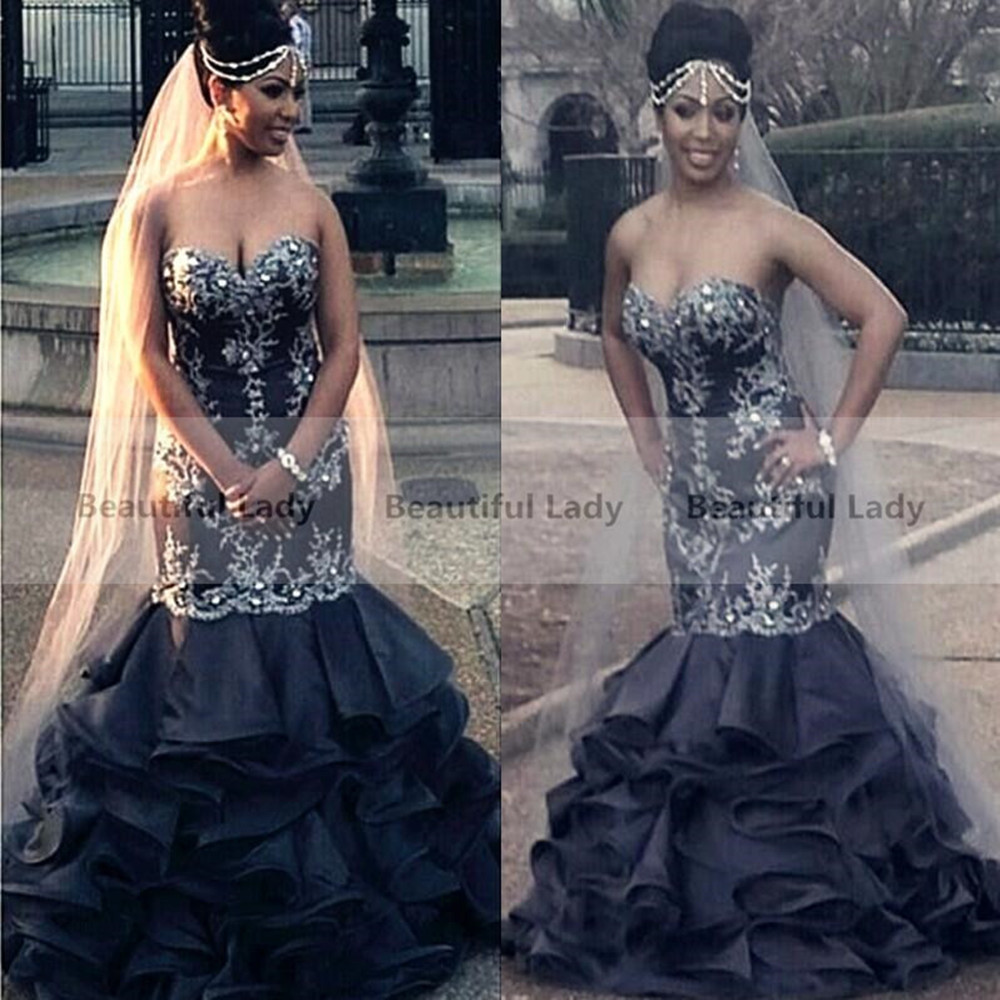 Online buy wholesale africa wedding dress from china for Black wedding dress mermaid