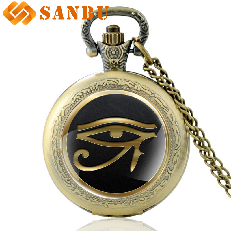 Classic Bronze Egyptian Gods Eye Quartz Pocket Watch Vintage Men Women The Eye Of Horus Necklace Jewelry