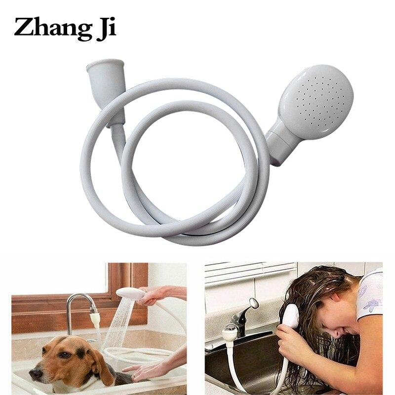 ZhangJi Push on Bath Shower Head multifunctional Dog Shower Drain Hose Portable cleaning Spray Shower head Pet Cleaner Jet