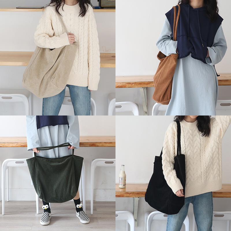 Women Corduroy Shoulder Bag Large Capacity Cord Eco Tote Thin Strap Cloth Bags