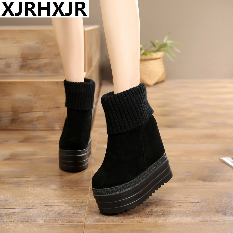 XJRHXJR13cm Women High Heels Autumn Fashion Casual Wedge Boot Women Height Increasing Platform Shoes Zapatillas Deportivas Mujer abs case with cooling fan heatsink removable top cover