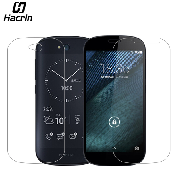 Hacrin for Yota Yotaphone 2 Tempered Glass + Back e-ink e-paper Soft Screen Protector film Case for YOTA YotaPhone 2 YD206 5.0''