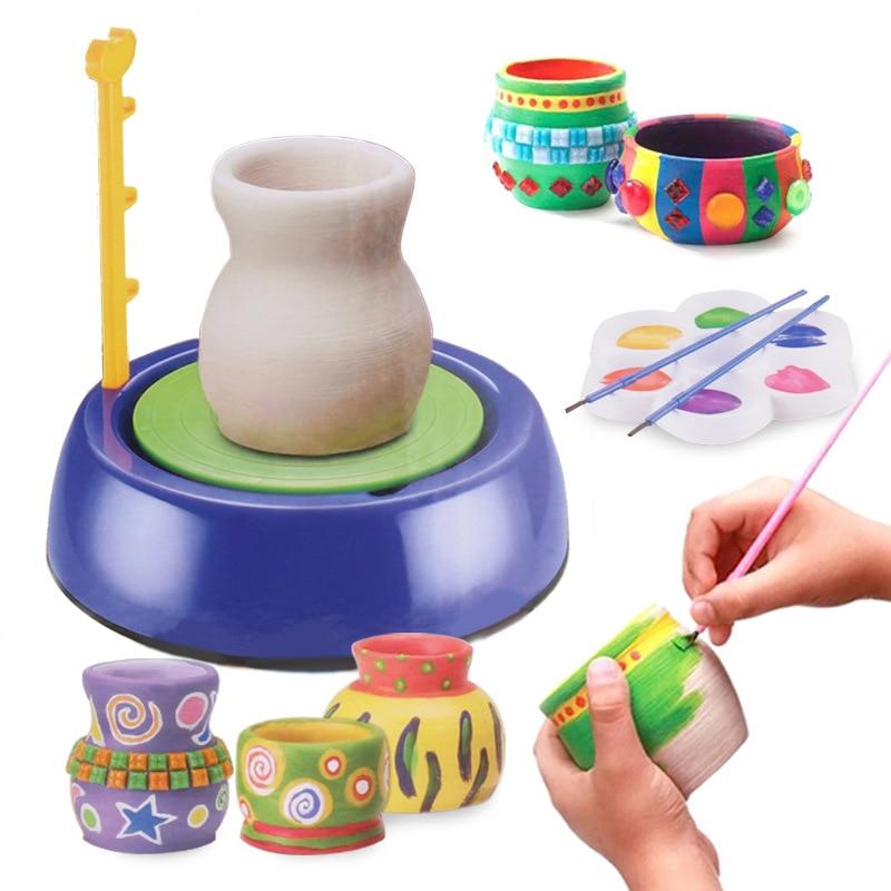 Mini DIY Handmake Ceramic Pottery Machine Pottery Wheels Kids Arts Craft Educational Gift Toy For Children polish pottery spoon rest blue bells
