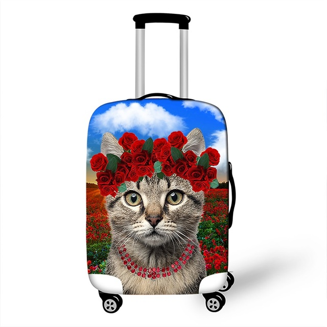 Cute Cat Luggage Protective Covers For Travel 18-28 Inch Suitcase Cover High Elastic Dust Protection Cover Trolle Luggage