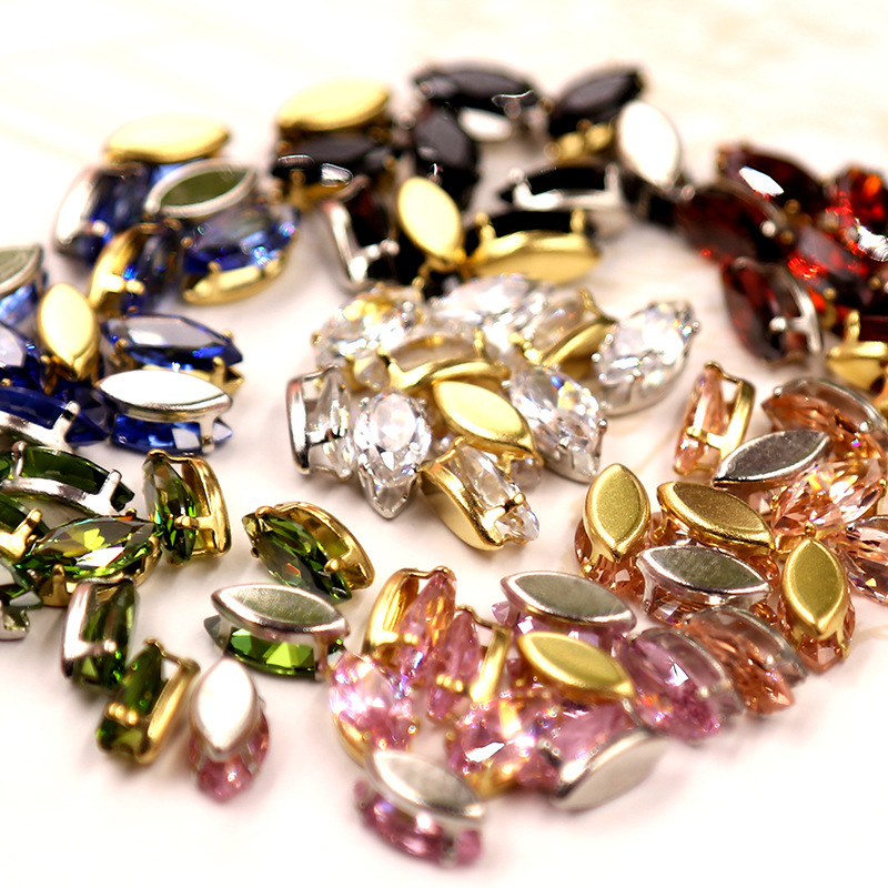 Free shipping 5x10mm 20pcs Super flash Multicolour eye shape Natural zircon,sew on stones for diy/Jewellery accessories