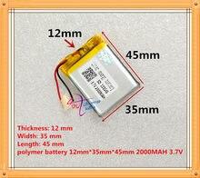 最高のバッテリーブランド送料無料 3.7 V リチウムポリマー電池 2000 mah 123545 スピーカーナビゲーター携帯 DVD