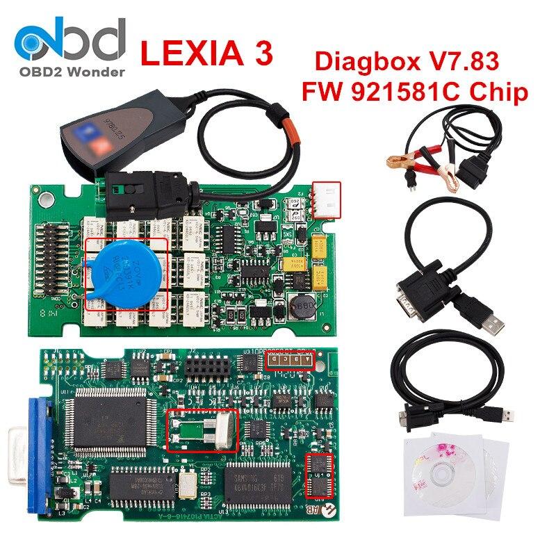 Prix pour Professionnel Lexia3 V48 Diagbox V7.83 Auto Diagnostic Scanner Outil Lexia 3 PP2000 FW 921581C Puce Pour Citroen Pour Peugeot