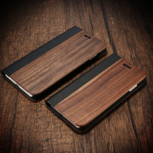 Bamboo Leather Flip Mobile Phone Case For iPhone 7 Plus Natural Wood Protector Cover Card Slot Wallet