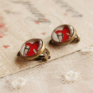 vintage red owl clip on earrings no pierced for kids cute animal earrings best christmas gifts handmade glass jewellery rj17 in clip earrings from jewelry - Best Christmas Gifts 2014 For Kids