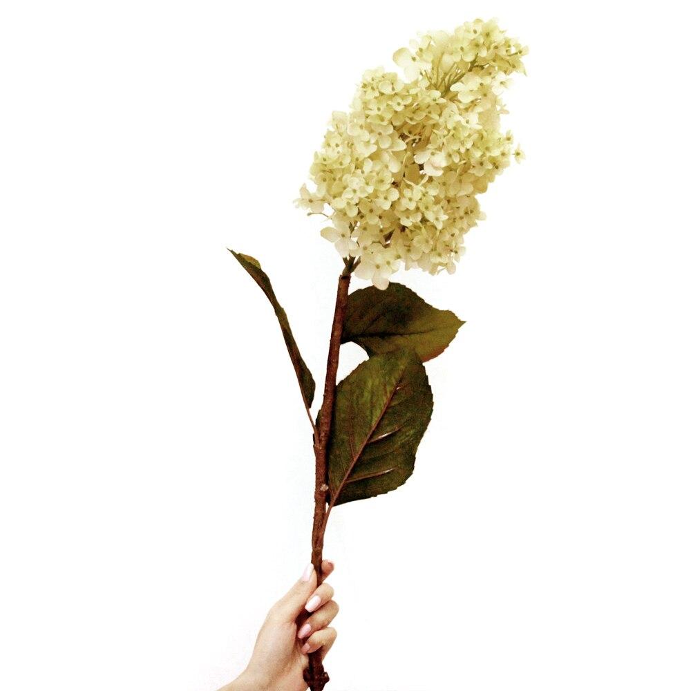 44 Artificial Cone Hydrangea Silk Flower Single Stem In White