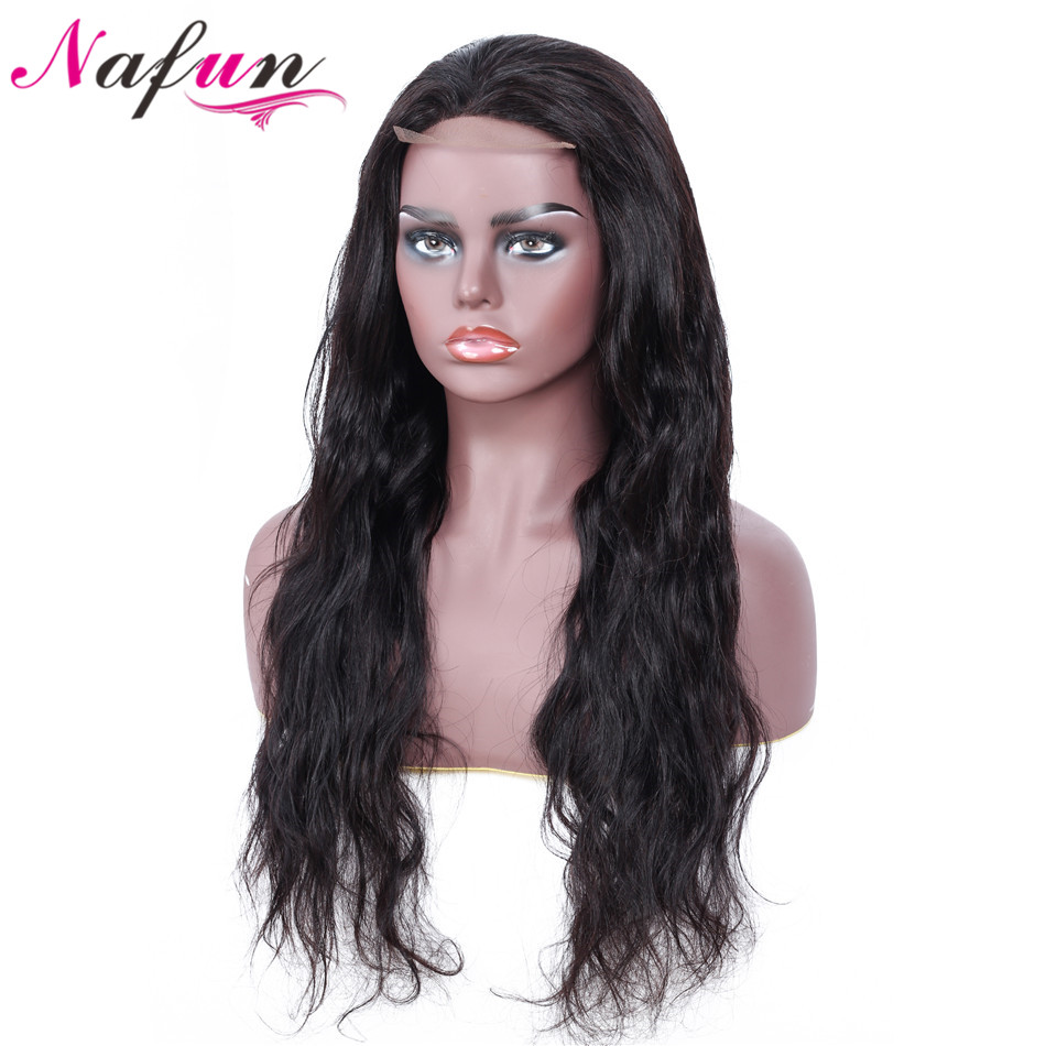 NAFUN Hair 4X4 Lace Closure Wig Body Wave Human Hair Wigs Peruvian Swiss Lace Natural Color
