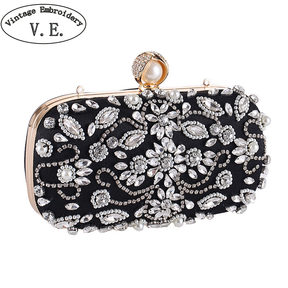 Handmade Beaded Dresses Bags Crystal beaded Clutch Bags Women Party Purse Bridal Handbags Evening Bags Messenger Shoulder Bags(China)