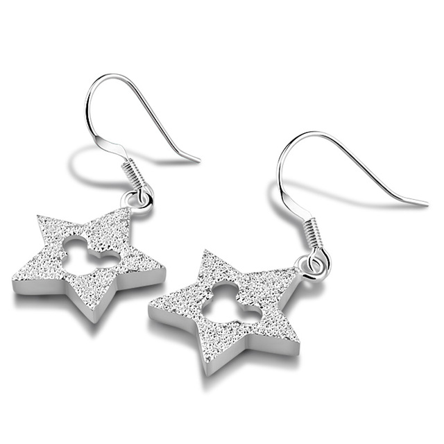 Fashion 925 Sterling Silver Mickey Mouse Earrings Cute Star 100 Woman