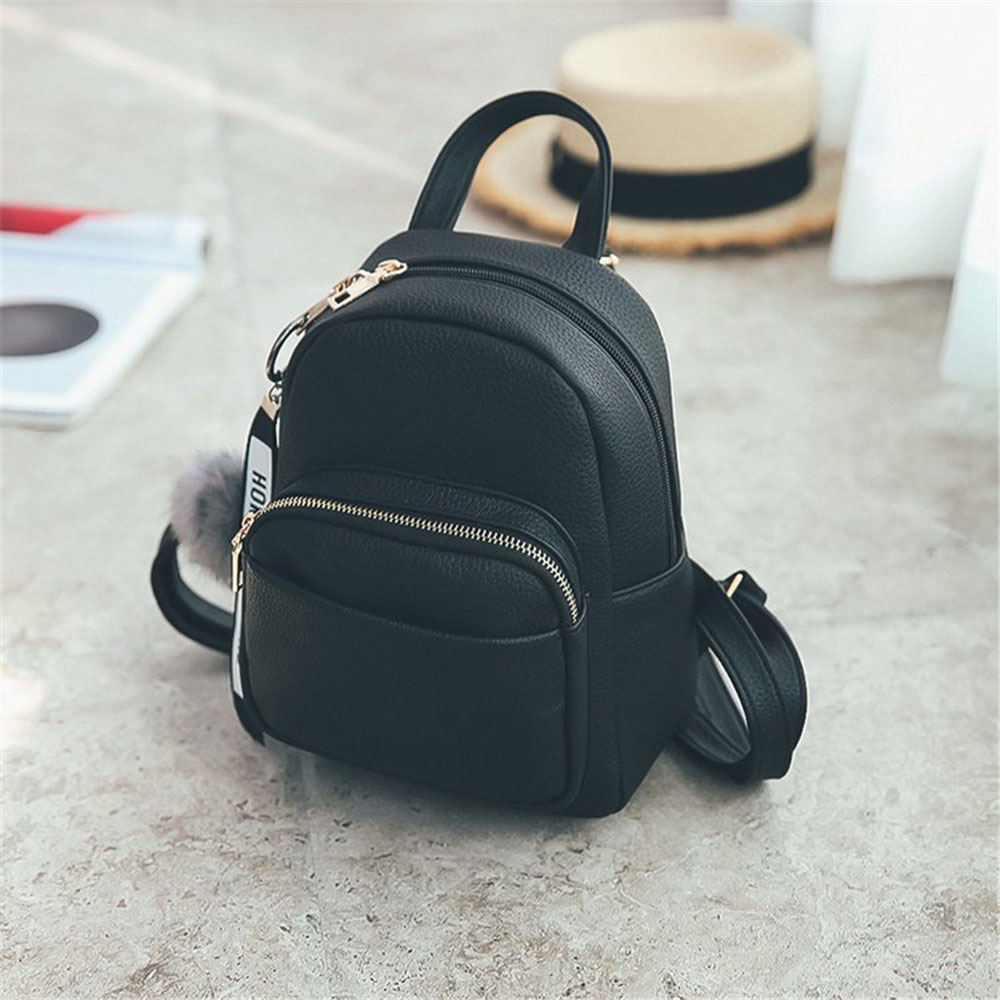 PU Leather Mini Backpacks Students Fuzzy Ball Pendant Shoulder Schoolbags Female Soft Women Fashion Small Travel Bags Back Pack image