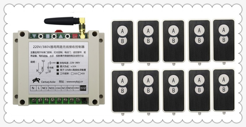 AC220V 250V 380V 30A 2CH RF Wireless Remote Control Switch System 10 transmitter and 1 receiver universal gate remote control