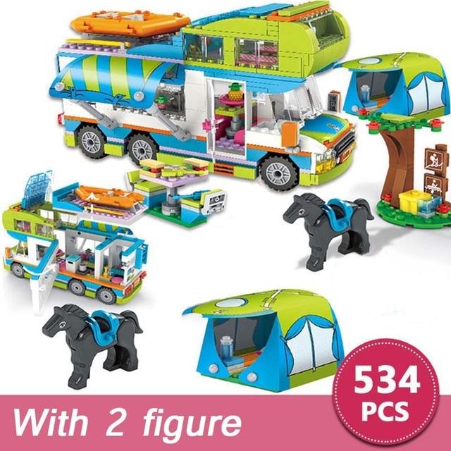 534pcs City Outing Camper Bus Car Girls Figures Building Blocks Compatible Major Brands Friend Bricks Educational Toys for Girls