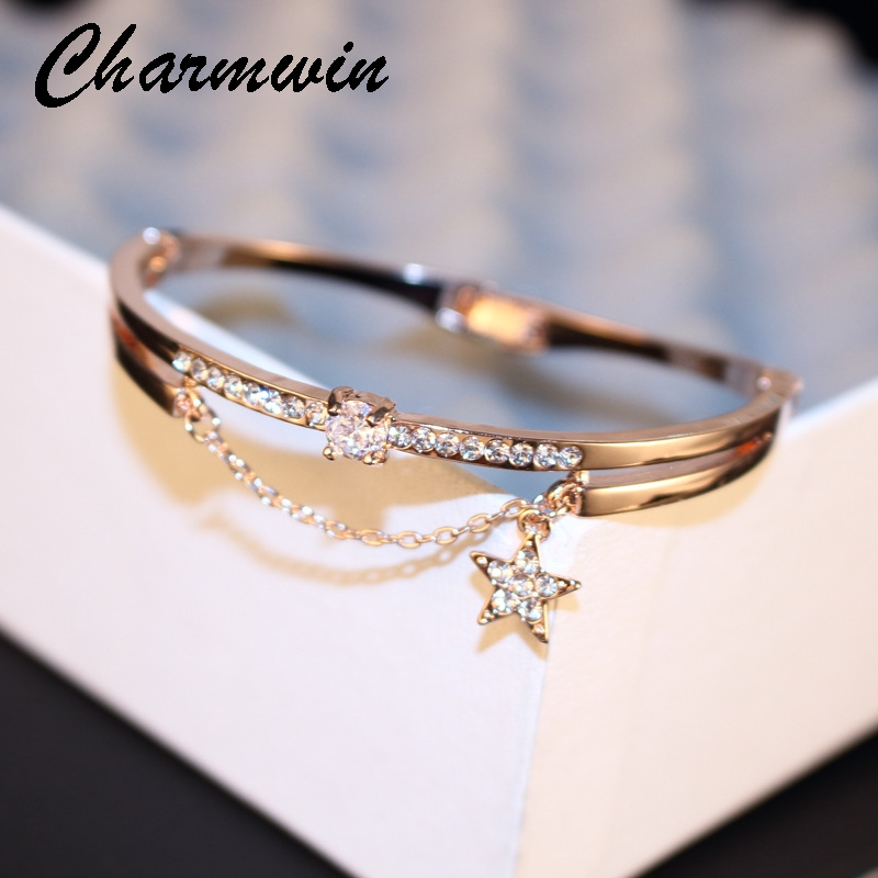 Charmwin Crystal Star Cuff Bangle Bracelet For Women Sweet Jewelry Luxury Brand Rose Gold Color Rhinestone Bracelets & Bangles gorgeous rhinestone square star bracelet for women