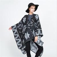 Bohemian Women's Winter Thicken Pashmina Fashion Ethnic Print Blanket Lady Knit Shawl Cape
