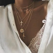 Модное многослойное ожерелье с крестом для женщин, очаровательные Чокеры золотой цвет, ожерелье в стиле бохо, Женские Ювелирные изделия для вечеринок LXL181