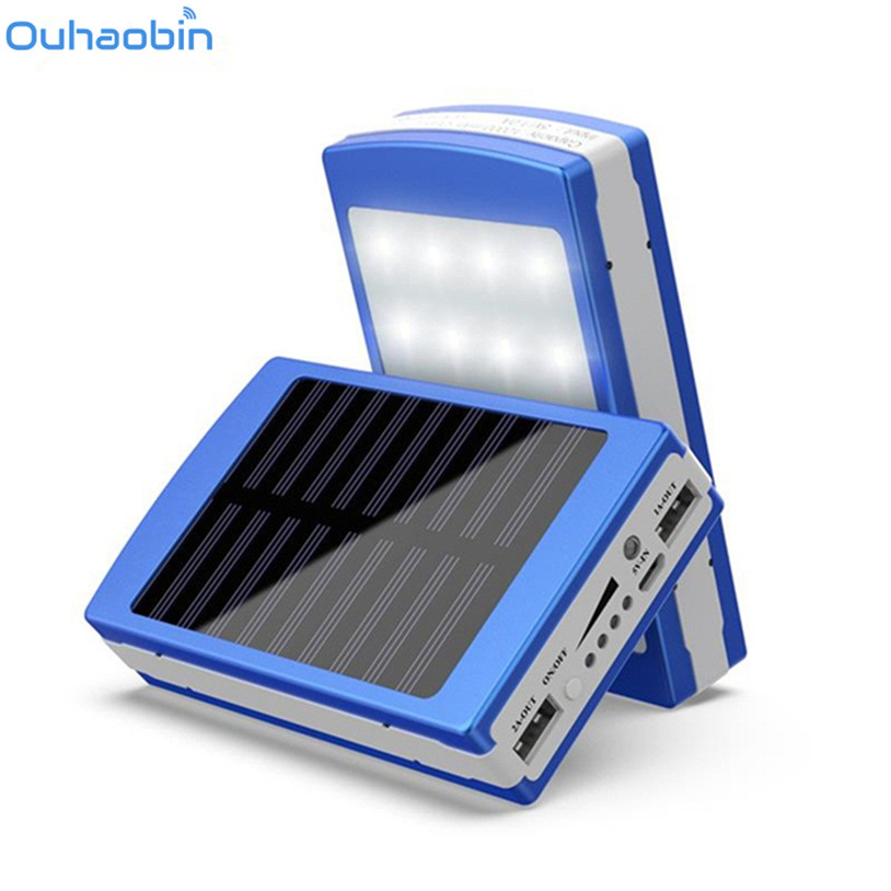 Ouhaobin  Solar LED Portable Dual USB Power Bank 5x18650 External Battery Charger DIY Box Case Jan 3 Drop Ship forfar 18v 30w smart solar power panel car boat battery bank charger w alligator clip portable travelling solar panel power