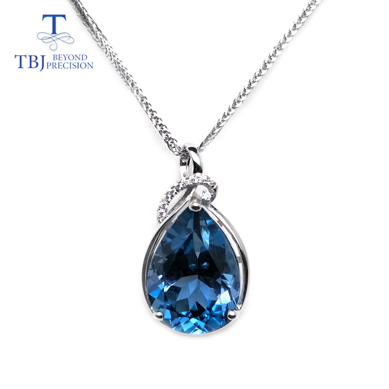 TBJ luxury simple big pendant with natural london blue topaz in 925 sterling silver fine jewelry