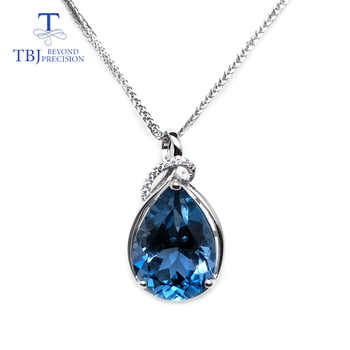 TBJ,luxury simple big pendant with natural london blue topaz in 925 sterling silver fine jewelry for women lady daily party wear - DISCOUNT ITEM  8% OFF All Category