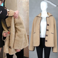 Ky & Q 2018 새로운 느슨한 브라운 자켓 코트 여성 겨울 봄 따뜻한 겉옷 싱글 브레스트 턴 다운 칼라 최고 당겨 플러스 사이즈 Coa