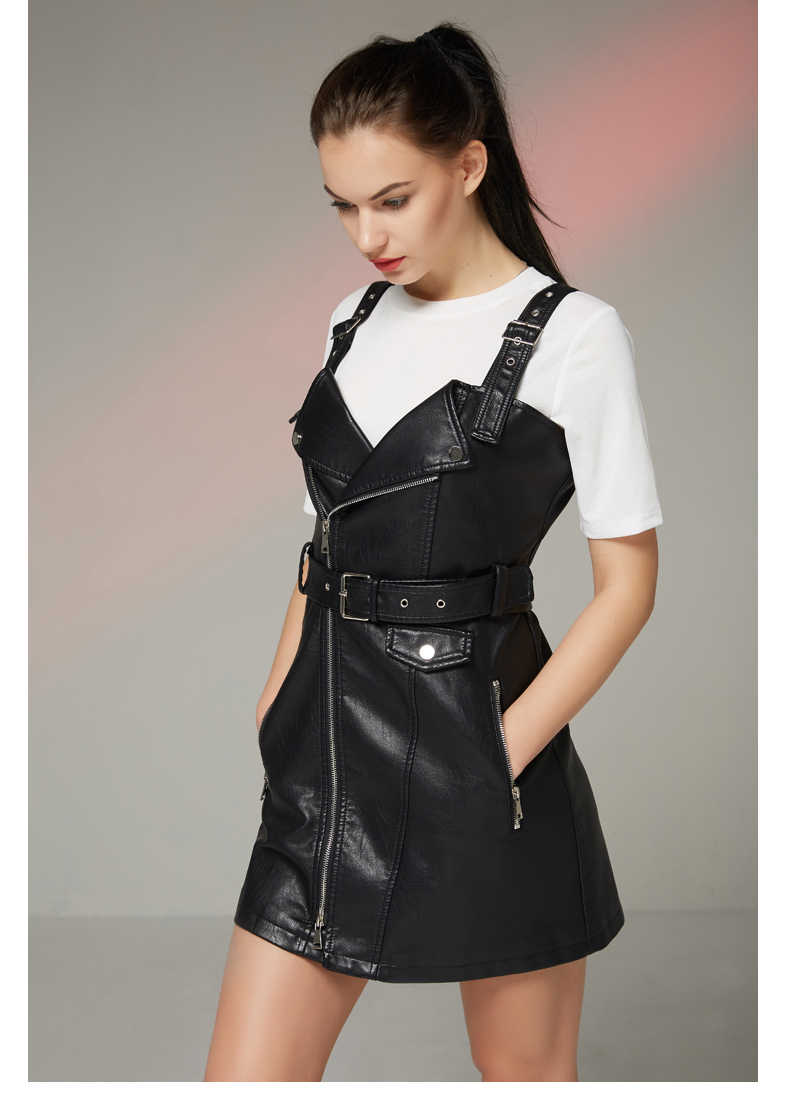 Fitaylor novo outono vestido de couro geral das mulheres macio do plutônio do falso vestidos de couro sexy turn-down collar magro retro preto curto vestido