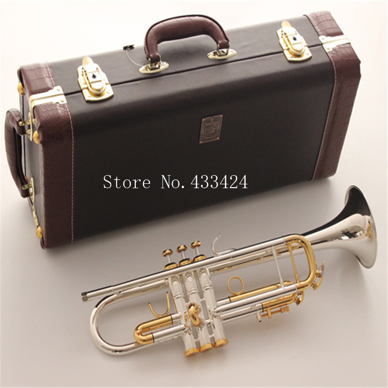 Bach Stradivarius Silver plated GOLD KEY LT180S-72 Flat Professional HARD CASE Trumpet Top Musical Instruments Brass Bugle Bb trumpet new bach silver plated body gold key lt190s 85 b flat professional trumpet bell top musical instruments brass