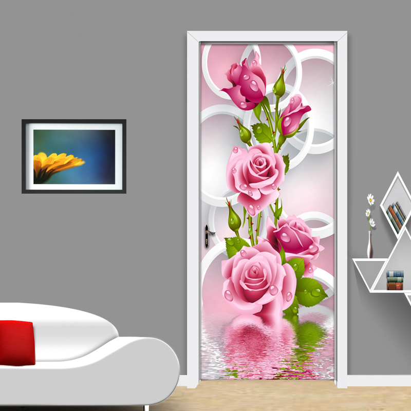 Us 15 32 30 Off 2 Pcs Set 3d Rose Flower Creative Door Stickers Diy Wall Mural Bedroom Home Decor Poster Pvc Waterproof Door Sticker Wallpaper In