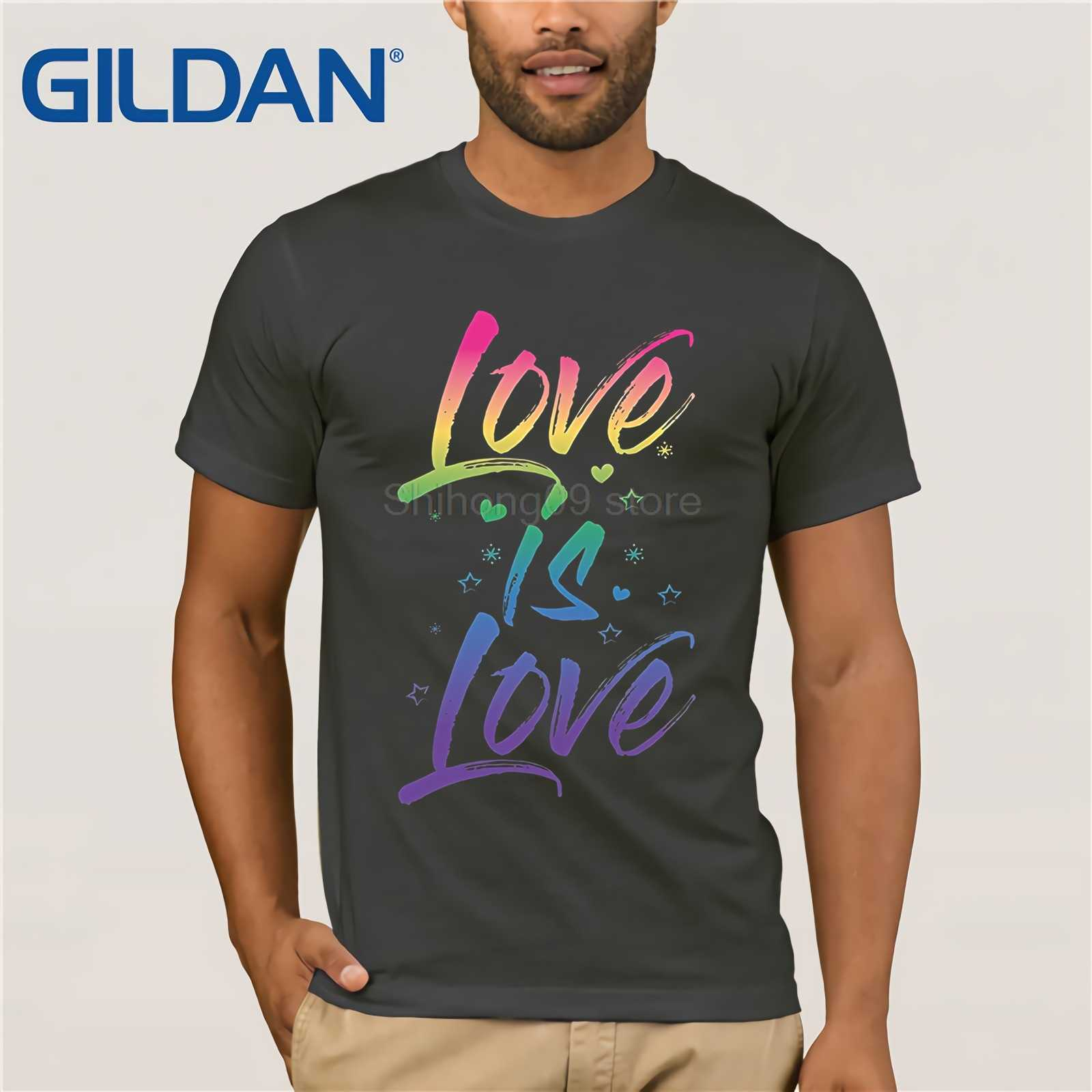7371faba ... GILDAN Gay Pride Shirt Rainbow Script Love is Love LGBT Cute TShirt  Funny men's print t ...