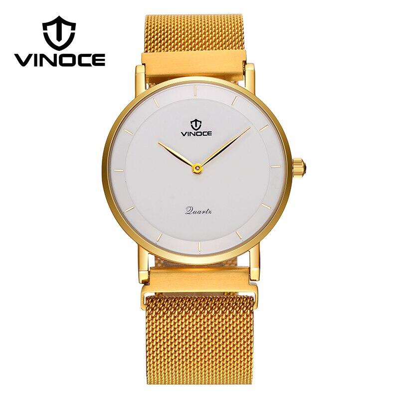 купить VINOCE New Arrival Ultra-thin Stainless Steel Band Wrist Watches For Men Famous Brand Male Clock Dress Waterproof Relojes Hombre по цене 3399.2 рублей