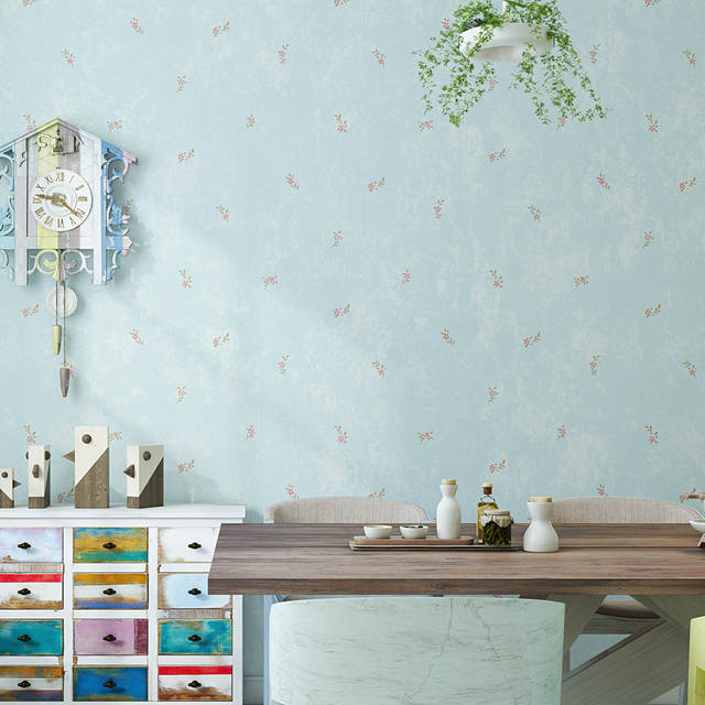 Rustic Small Flower Wallpaper For Walls Beige Blue Green Non Woven