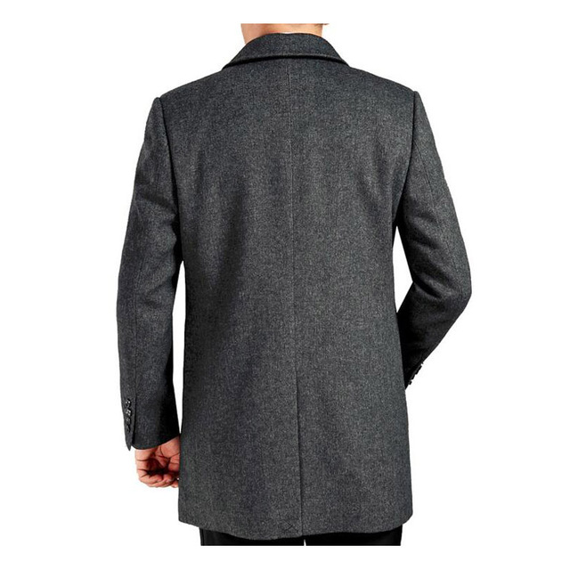 Middle age men's cashmere coat men wool trench male turn down collar single breasted woolen outerwear 2018 new autumn winter 3